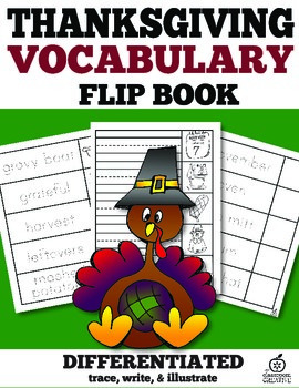 Thanksgiving Vocabulary Words Flip Book