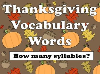 """Thanksgiving Vocabulary Words: How Many Syllables? (includes the word """"Indian"""""""