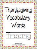 Thanksgiving Vocabulary Words Tracing