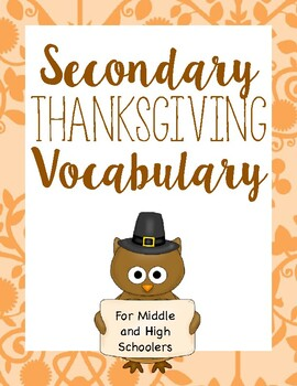 Thanksgiving Vocabulary for Middle and High School