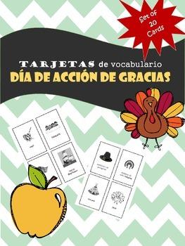 Thanksgiving Vocabulary in Spanish / Vocabulario del dia de accion de gracias