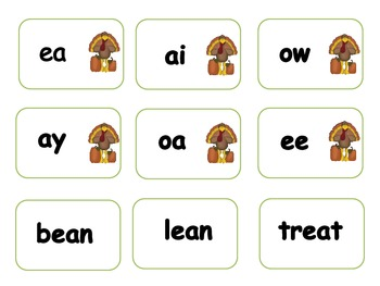 Thanksgiving Vowel Team Word Sort & Card Game