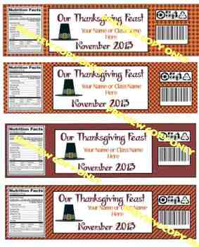 Thanksgiving Water Bottle Labels, Customized with your name/classname