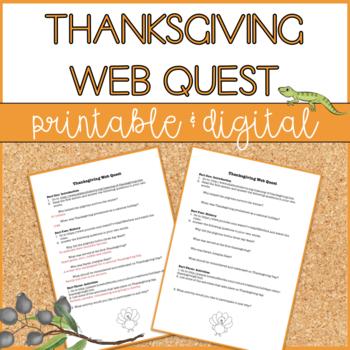 Thanksgiving Web Quest