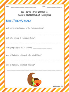 Thanksgiving WebQuest - Engaging Internet Activity {Includes GoogleSlides}
