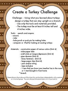 Distance Learning:  Wild Turkeys WebQuest and Make a Turkey STEM Challenge