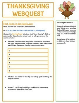 Thanksgiving Webquest - Reading Comprehension, Computer Tech, FULLY EDITABLE