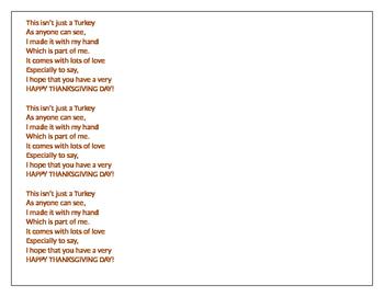Thanksgiving Week Daily Lesson Plans & Handprint Art Poem
