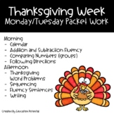 Thanksgiving Reading Comprehension Math Writing Morning Work Packet Work