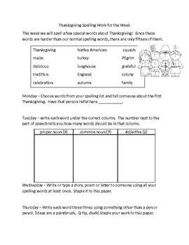 Thanksgiving Week Spelling Work