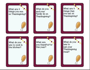 """Thanksgiving """"Wh"""" Question Task Cards - Kindergarten {common core aligned}"""