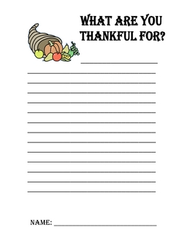 "Thanksgiving : ""What are you thankful for?"" writing sheet"