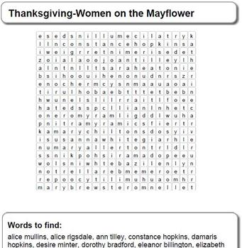 Thanksgiving-Women on the Mayflower Word Search