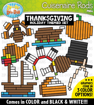 Thanksgiving Wooden Block Rods Clipart {Zip-A-Dee-Doo-Dah Designs}