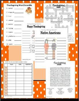 Thanksgiving Word Activity Fun (wordsearch, word scramble, anagram, crossword)