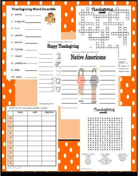 Thanksgiving Word Activity Fun (wordsearch, word scramble, anagram, crossword)