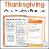 Thanksgiving Word Analysis Worksheets (SOL 4.4) Print and Digital