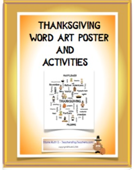 Thanksgiving Word Art Poster and Activities