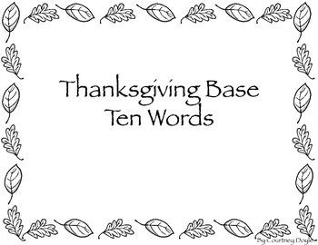 Thanksgiving Word Base Ten