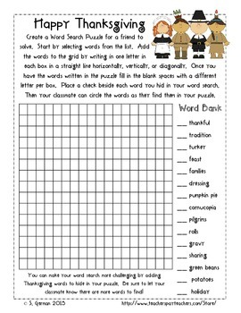 Thanksgiving Boggle, Puzzle, and Student Created Word Search