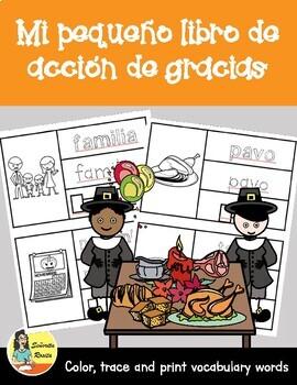 Thanksgiving Word Book en Español - Mi pequeño libro de Acción de Gracias