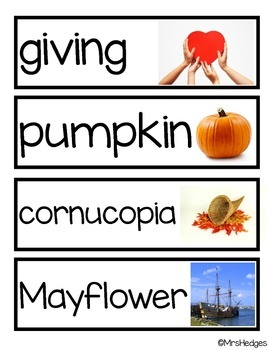 Thanksgiving Word Cards