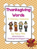 Thanksgiving Word Cards and Word Walls in English and Spanish