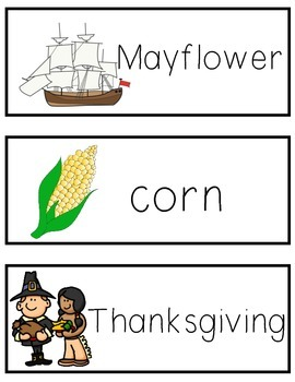 Thanksgiving Word Cards for Writing Center or Word Wall