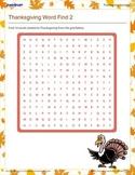 Thanksgiving Word Find