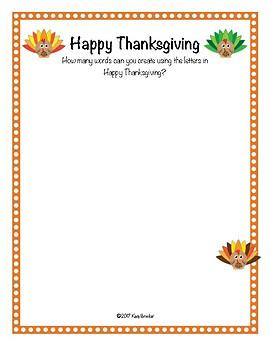 Thanksgiving Word Game