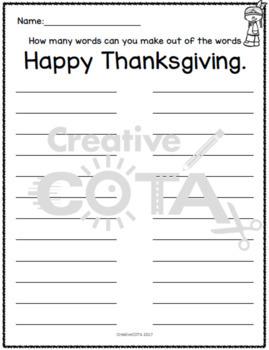 Thanksgiving Word Games
