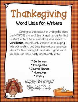Thanksgiving Word List for Writers *Thanksgiving Writing