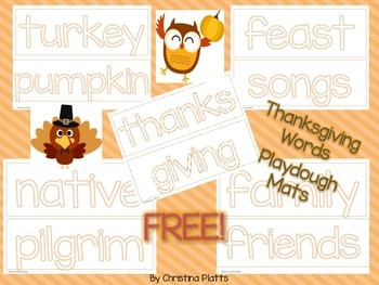 Thanksgiving Word Mats for Play Dough and Writing