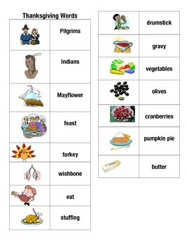 Thanksgiving Word Picture Sentence Helpers