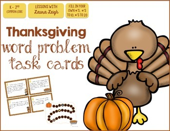 Thanksgiving Word Problem Task Cards & Game Board (K-2)