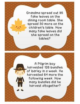 Thanksgiving Word Problems: 2 & 3 Digit Addition and Subtraction