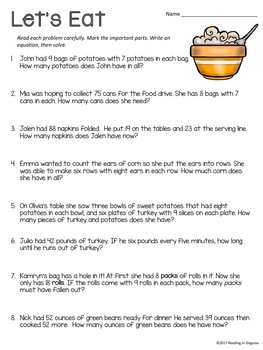 Thanksgiving Word Problems: 3rd Grade