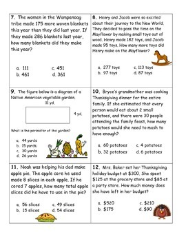 Thanksgiving Word Problems- 3rd and 4th Grade