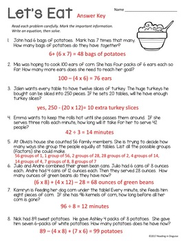 Thanksgiving Word Problems: 4th Grade