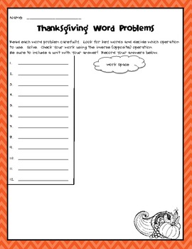 Thanksgiving Word Problems (Addition/Subtraction)