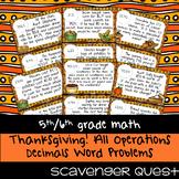 Thanksgiving Word Problems: All Operations Decimals - Math Scavenger Quest