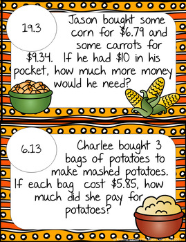 Thanksgiving Word Problems: All Operations Decimals - Math Scavenger Quest