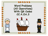 Thanksgiving Word Problems (All Operations)  4th Grade Common Core Aligned