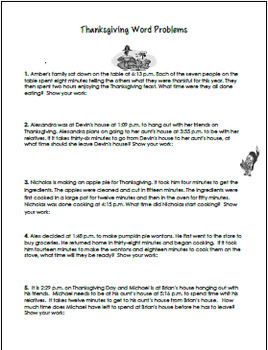 Thanksgiving Elapsed Time Math Problem Solving and Activities