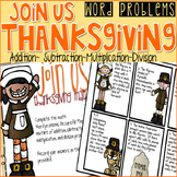 Thanksgiving Word Problems Game- Addition, Subtraction, Multiplication, Division