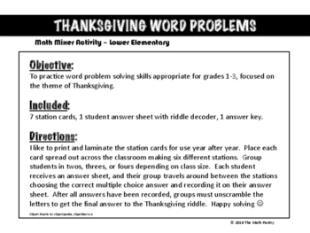 Thanksgiving Word Problems - Math Mixer Activity - Lower Elementary