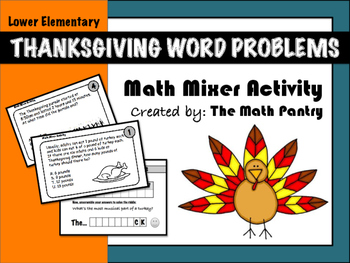 Thanksgiving Word Problems - Math Mixer Activity - Lower E