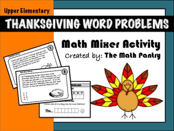 Thanksgiving Word Problems - Math Mixer Activity - Upper Elementary