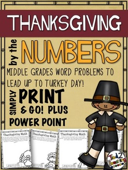Thanksgiving Word Problems - Print & Go