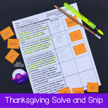 Thanksgiving Math Word Problems- Solve and Snip- Common Core & TEKS